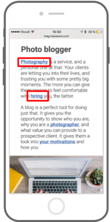 The example of in-text ads for monetization of mobile blogs and websites.