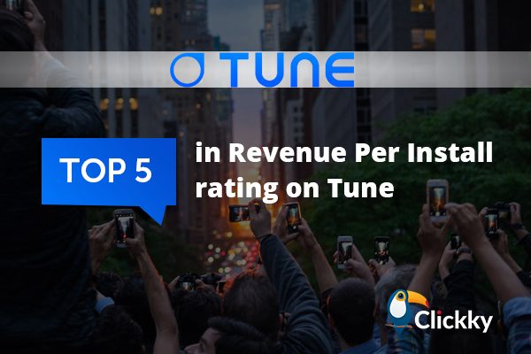 Tune named Clickky in top 5 partners in terms of RPI
